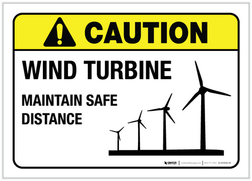 Caution: Wind Turbine ANSI with Graphic - Label