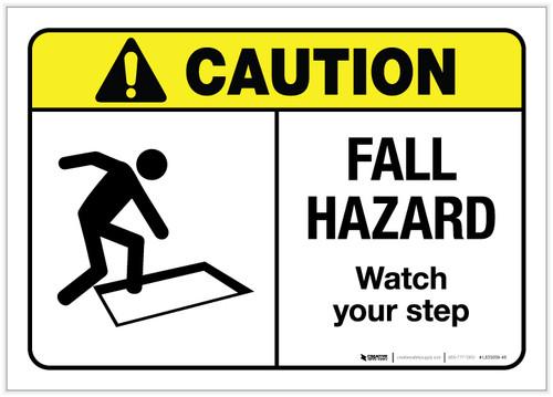 Caution: Fall Hazard ANSI - Label