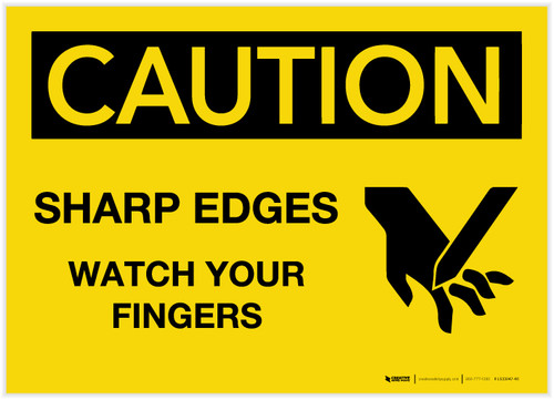 Caution: Sharp Edges/Watch Your Fingers with Graphic - Label