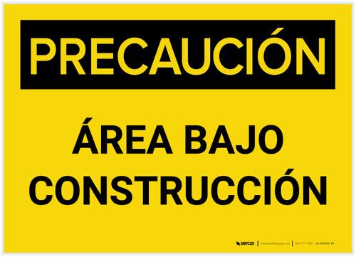 Caution: Area Under Construction (Spanish) - Label