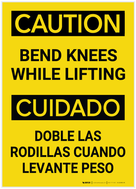 Caution: Bend Knees While Lifting Bilingual (Spanish) - Label