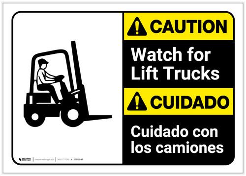 Caution: Lift Trucks ANSI Bilingual (Spanish) - Label