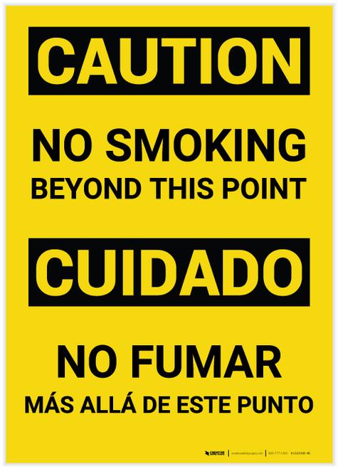 Caution: No Smoking Beyond This Point Bilingual (Spanish) - Label