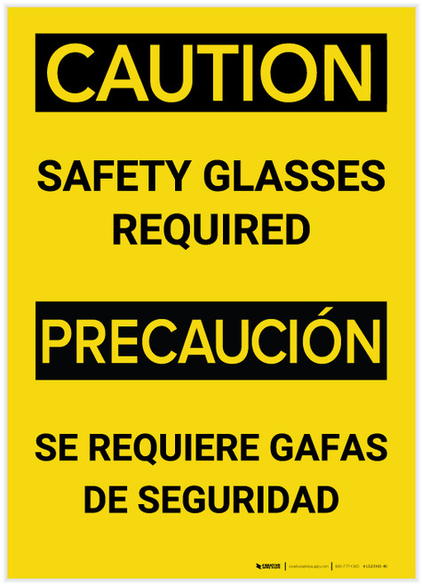 Caution: Safety Glasses Required Bilingual (Spanish) - Label