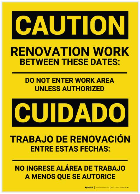 Caution: Renovation Work Bilingual (Spanish) - Label