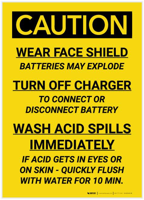Caution: Battery Acid Procedure - Label
