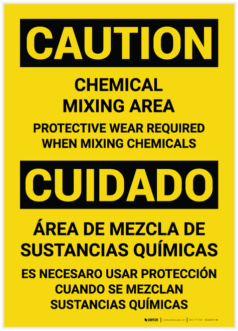 Caution: Chemical Mixing Area PPE Required - Label