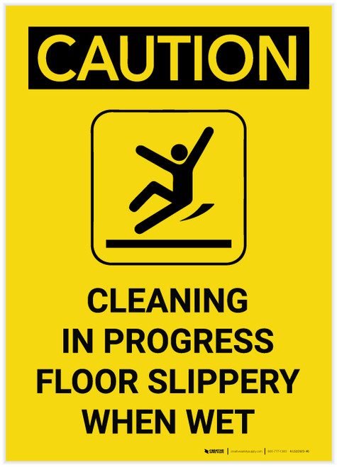 Caution: Cleaning in Progress Floor Slippery When Wet Portrait with Graphic - Label