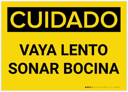 Caution: Go Slow Sound Horn Spanish - Label