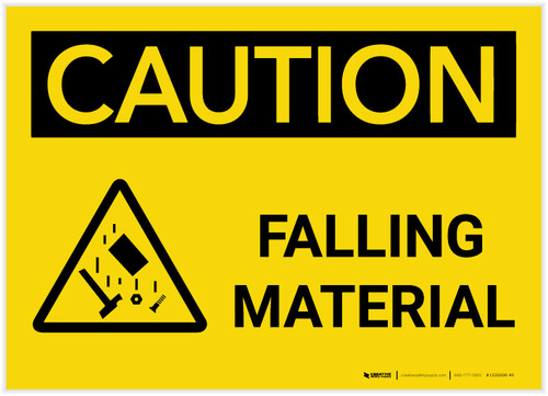 Caution: Falling Material With Graphic - Label