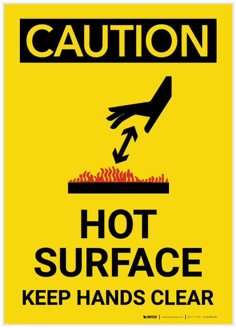 Caution: Hot Surface Keep Hands Clear - Label