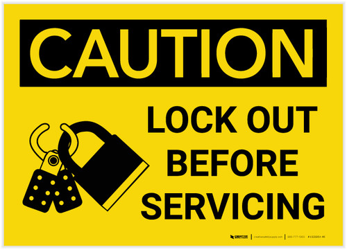 Caution: Lock Out Before Servicing with Graphic - Label