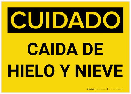 Caution: Falling Ice Snow Spanish - Label