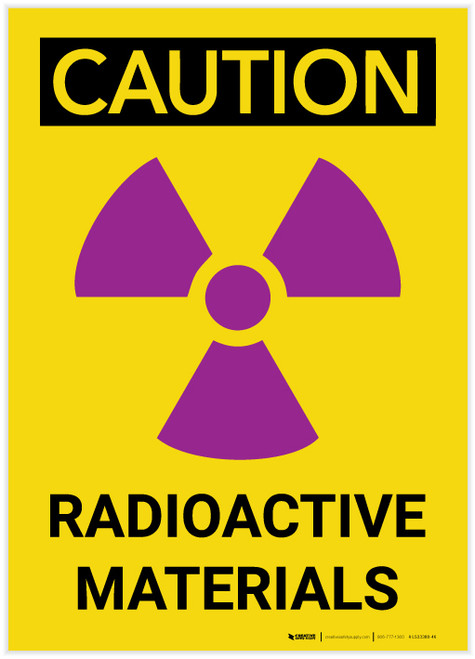 Caution: Radioactive Materials Vertical with Graphic - Label