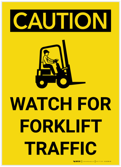 Caution: Watch For Forklift Traffic Vertical with Graphic - Label