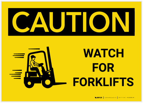 Caution: Watch For Forklifts With Graphic - Label