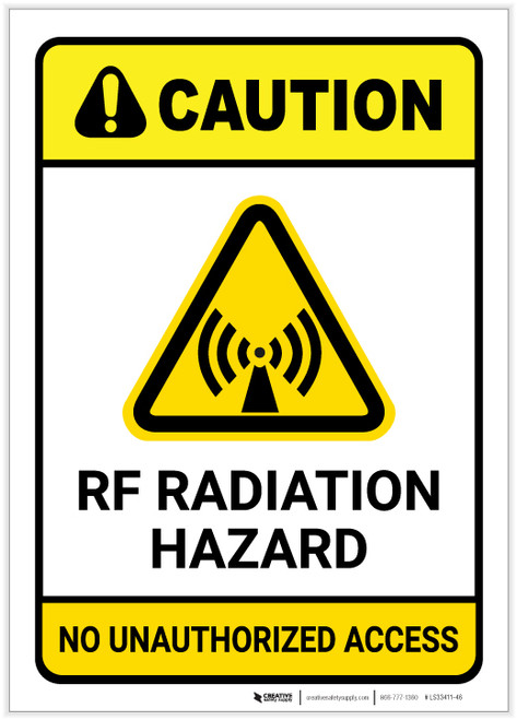 Caution: RF Radiation Hazard No Unauthorized Access ANSI with Graphic - Label