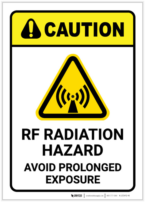 Caution: RF Radiation Hazard Avoid Prolonged Exposure With Graphic - Label