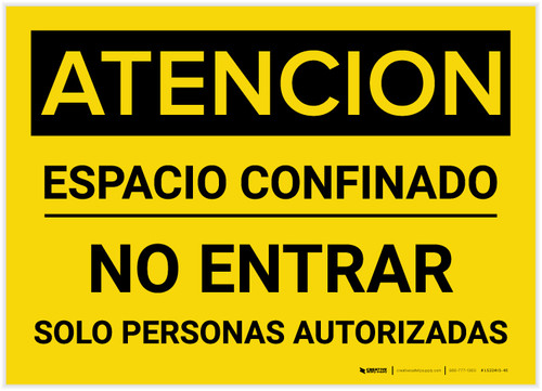 Caution: Confined Space Do Not Enter Spanish - Label