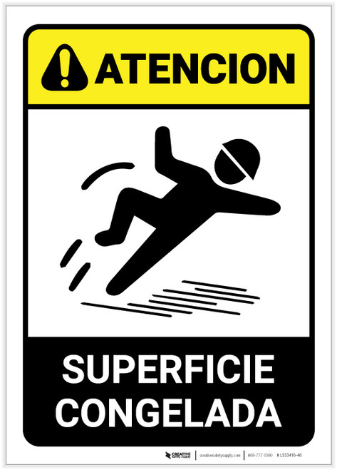 Caution: Icy Surface Spanish - Label