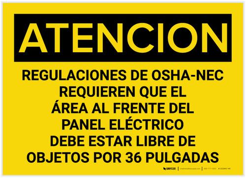 Caution: OSHA NEC Regulations Requires Spanish - Label