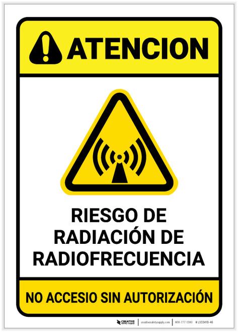 Caution: RF Radiation Hazard Spanish - Label