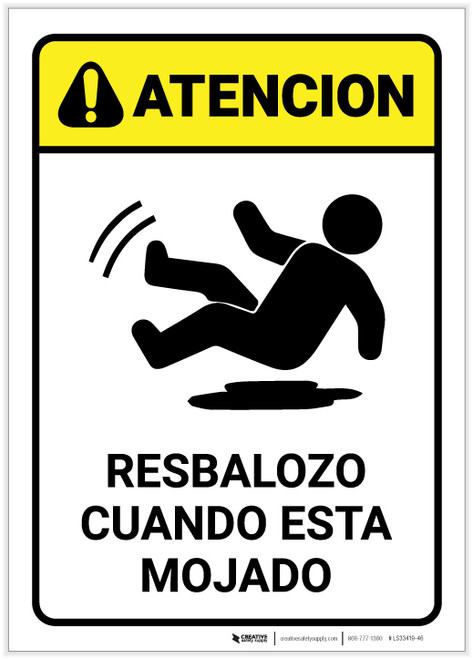 Caution: Slippery When Wet Spanish - Label