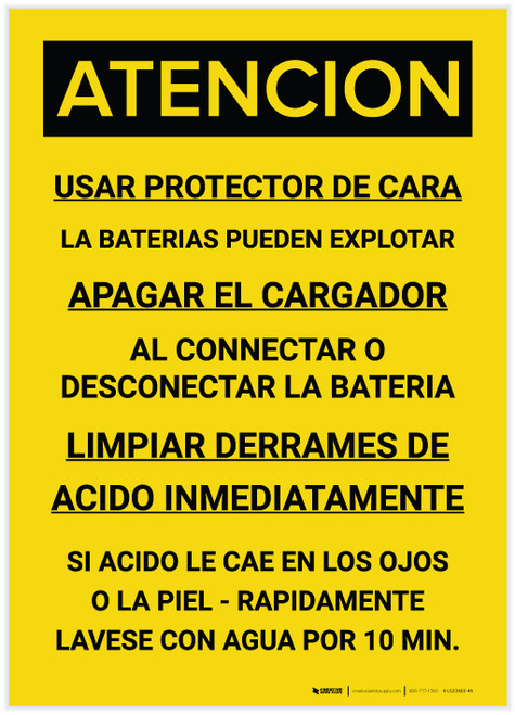Caution: Wear Face Shield Batteries May Explode Spanish - Label