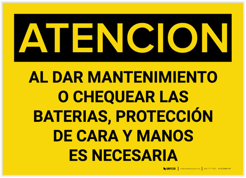 Caution: When Servicing Or Checking Batteries Spanish - Label
