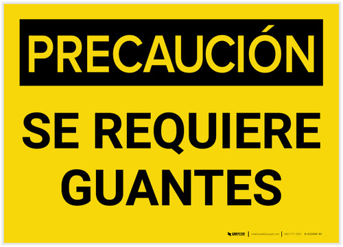 Caution: Gloves Required Spanish - Label