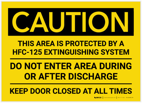 Caution: Area Protected by a HFC-125 Extinguisher System - Label