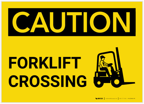 Caution: Forklift Crossing with Graphic - Label
