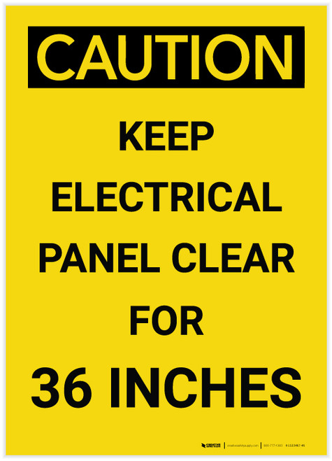 Caution: Keep Electrical Panel Clear for 36 Inches Vertical - Label