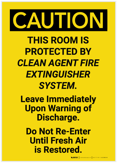 Caution: Room is Protected by Clean Agent Fire Extinguisher Vertical - Label