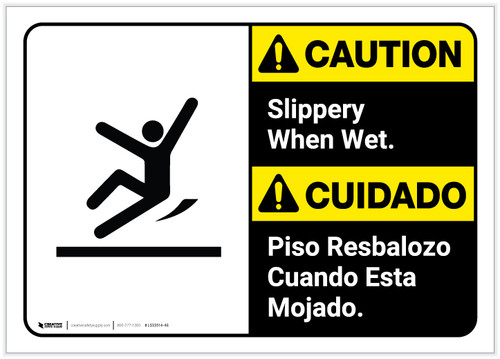 Caution: Bilingual Slippery When Wet - Label