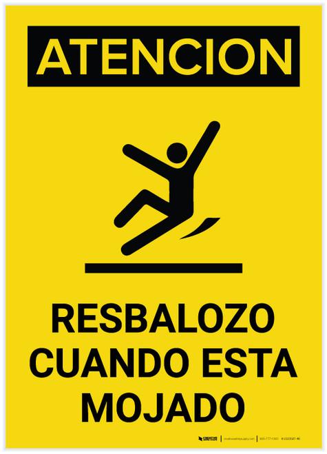 Caution: Floor Slippery When Wet Spanish Portrait With Graphic - Label