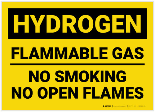 Caution: Flammable Gas No Smoking Open Flames - Label