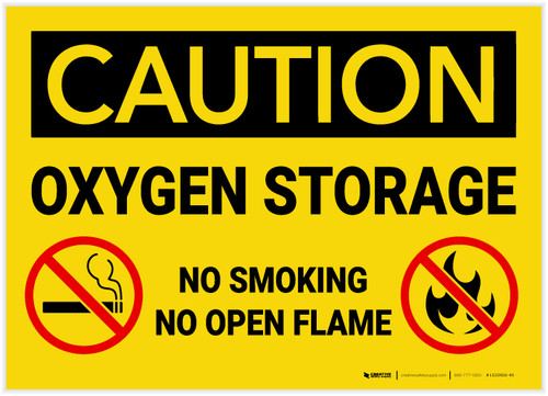 Caution: Oxygen Storage No Smoking Open Flame with Graphic - Label