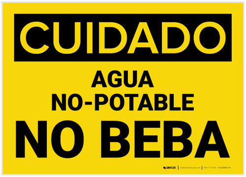 Caution: Non Potable Water Do Not Drink Spanish - Label