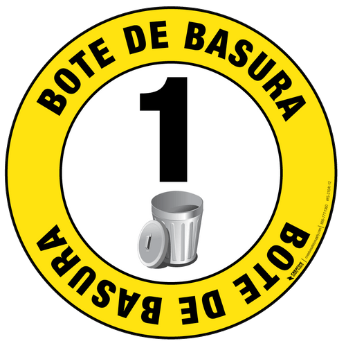Bote de Basura (Trash Can) Floor Sign (with numbering)