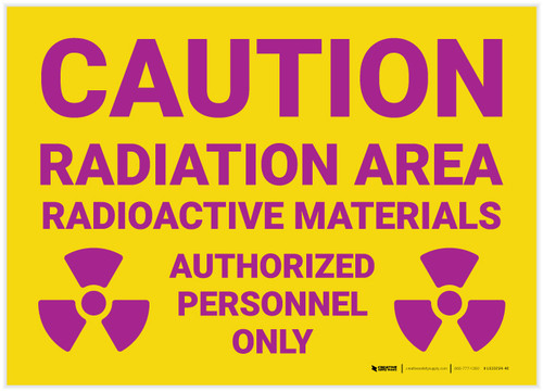 Caution: Radiation Area Radioactive Materials with Icons Landscape - Label