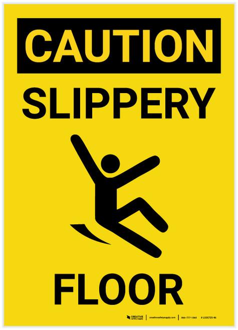 Caution: Slippery Floor with Icon Portrait - Label