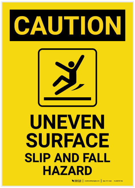 Caution: Uneven Surface Fall Hazard with Icon Portrait - Label