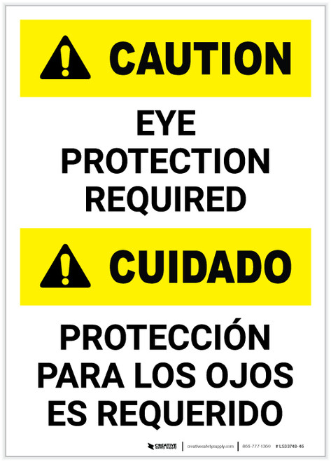 Caution: Eye Protection Required Bilingual Portrait - Label