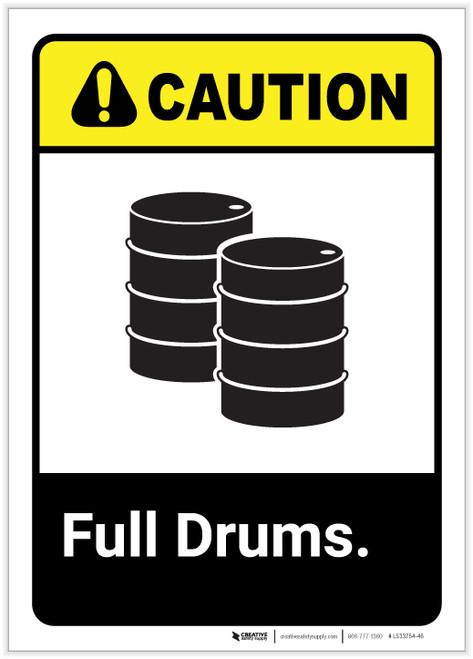 Caution: Full Drums Portrait ANSI - Label