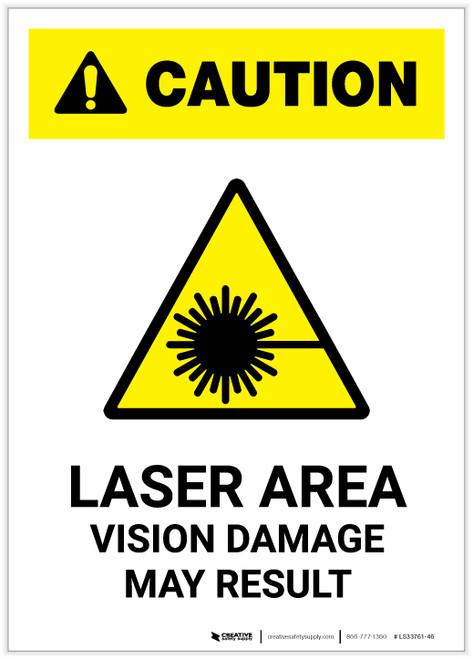 Caution: Laser Area Vision Damage May Result ANSI Portrait - Label