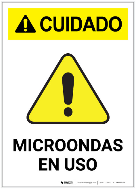 Caution: Microwave in Use Spanish Portrait - Label