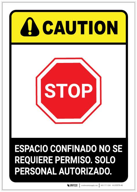 Caution: Non Permit Confined Space Spanish ANSI Portrait - Label