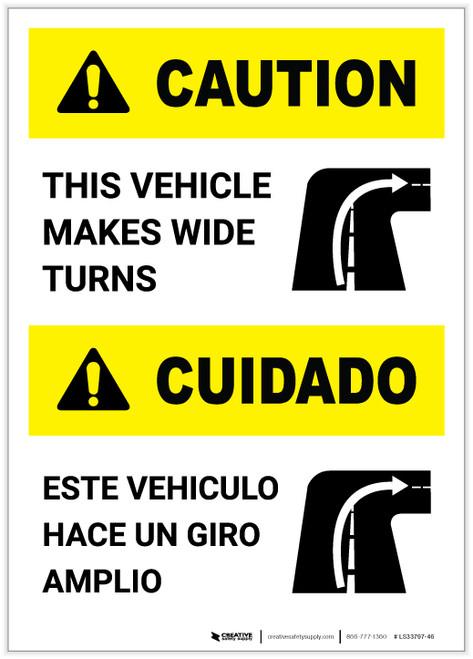 Caution: Wide Turns Bilingual (Spanish) Portrait - Label