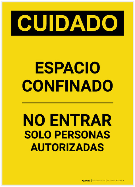 Caution: Confined Space Do Not Enter Spanish Portrait - Label